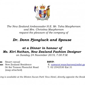 Dr. Donn Invited To Dinner In Honour Of Kiri Nathan, NZ Fashion Desinger At NZ Residence, Bangkok